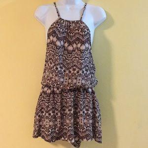 FREE PEOPLE Batik Print Dropped Waist Mini dress